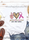 Peace Love Cure - Breast Cancer Awareness Tee / Unisex Sized Breast Cancer Awareness T-Shirt/ Youth and Adult Sizing Pink Ribbon