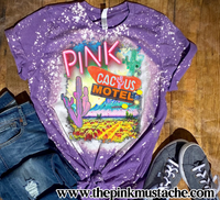 Bleached Western Pink Cactus Hotel Boho Shirt - Softstyle Tees