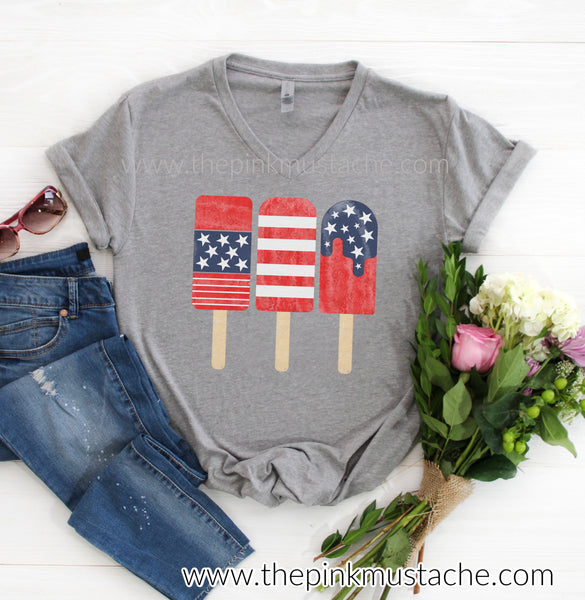 4th of July USA Popsicle Watercolor Patriotic Watercolor V-NECK Short Sleeved T-Shirt