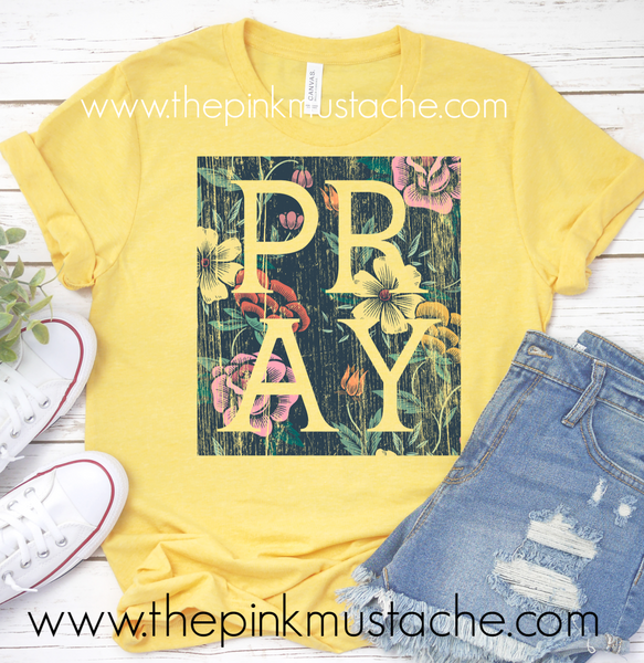 Pray Tee / Yellow Pray Floral Bella Canvas Shirt / Mommy and Me