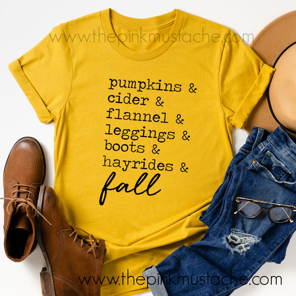 Pumpkins, Cider, Hayrides, Leggings, Boots, Flannel - FALL words Tee/ Bella Canvas / Fall Layering Tee / Teachers Tee