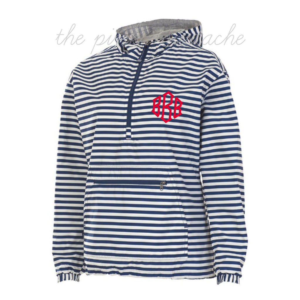 Charles River Monogrammed Navy Striped Jacket Pullover/ XXS- XXXL
