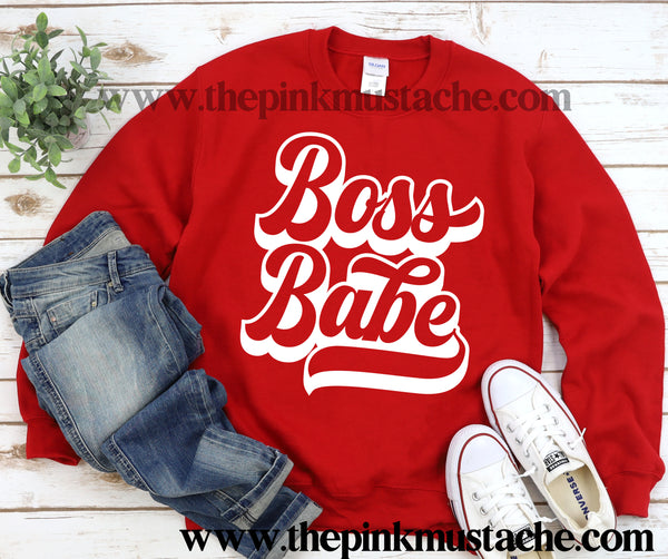 Boss Babe  Valentines Day Retro Unisex Sweatshirt/  Valentine's Sweatshirt/ Valentines Day Sweater