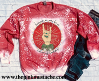 Bleached Have a Rockin' Christmas Sweatshirt/ Super Cute Bleached Christmas Sweatshirt - Rock N Roll