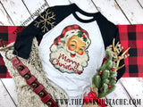 Retro Vintage Santa Merry Christmas / Merry Christmas Santa Boutique Raglan / Youth and Adult sizing / Buffalo Plaid Christmas