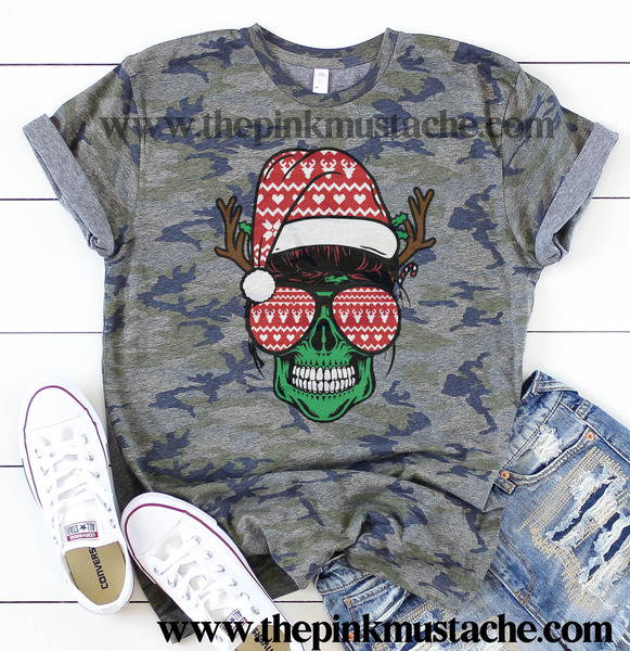 Camouflage Mom Life Skeleton Christmas Messy Bun Mom Camo Shirt/ Christmas Tees