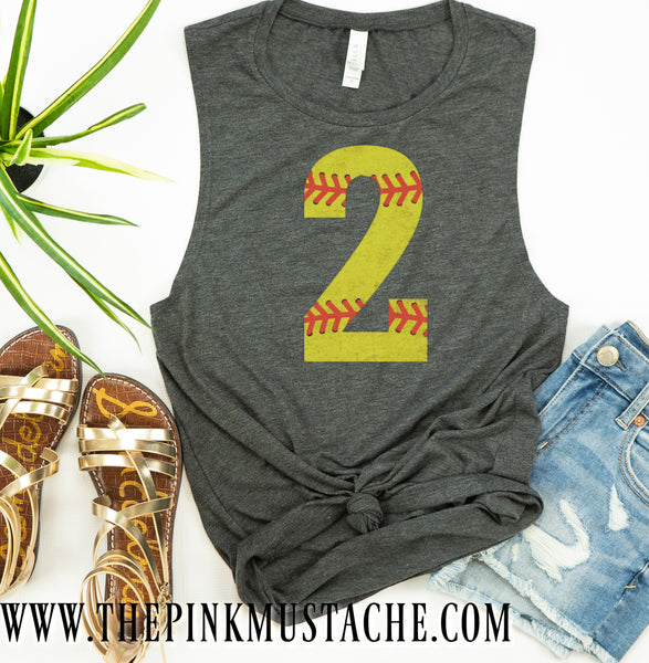 Custom Number VIntage Softball Tank Top - Softball Mom Shirt with Number