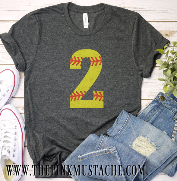 Custom Vintage Softball Shirt - Softball Shirt with Number