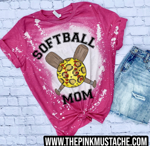 Bleached Leopard Softball and Bat Shirt /Softball Mom Shirt/ Softball Shirts /Softball Mom Shirt