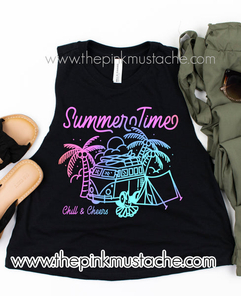 Summertime Retro Watercolor VW Camper Camping Retro Hippie Cropped Tank Top/ Summer Tanks