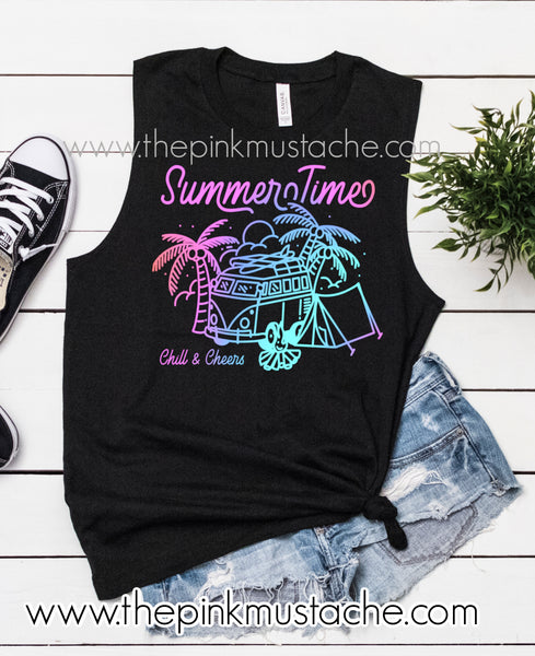 Summertime Retro Watercolor VW Camper Camping Retro Hippie Muscle Tank Top/ Summer Tanks
