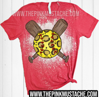 Bleached Leopard Softball and Bat Shirt / Multiple Colors Available/ Youth and Adult Softball Shirts /Softball Mom Shirt