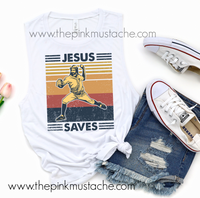Funny Jesus Saves Retro Baseball Tank - Unisex Mens and Women's Cut Tank Top/ Funny Retro Vintage Tanks