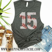 Custom Number VIntage Baseball Tank Top - Baseball Mom Shirt with Number