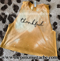 Bleached Thankful Mustard Bella Cropped Tank / Distressed Tank Top / Workout Tank