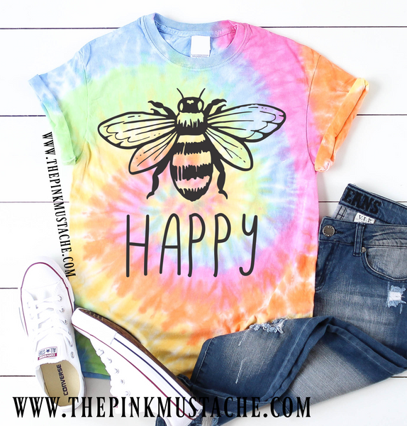 Tie Dye Bee Happy T-Shirt / Tie Dye Tee / Fall Layering Tee / Teachers Tee
