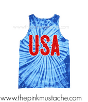 USA Memorial Tie Dye Tank / July 4th Tank/ USA Tank / Merica Tank Top/ Tie Dyed Tank