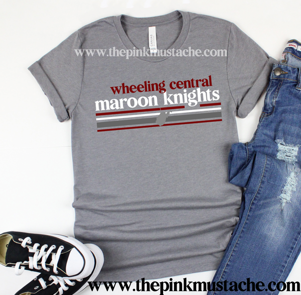 Wheeling Central Maroon Knights Tee/ Custom School Shirt