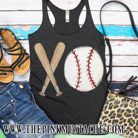 Baseball Hand Painted XO Bat and Ball Tank