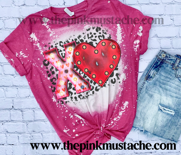 Bleached XO Valentines Day Softstyle Shirt -  Bleached Pink Hugs and Kisses Tee/ Unisex Sized Tee / Valentines Day Shirt
