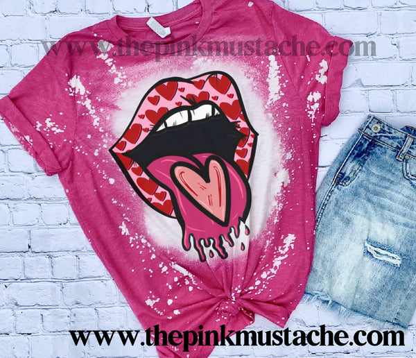 Softstyle Short Sleeved Bleached Tongue Lips Heart Valentines Day Shirt -  Bleached Pink Tee/ Unisex Sized Tee / Valentines Day Shirt