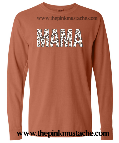 Comfort Colors Leopard Print Mama Shirts / Long Sleeved Oversized Tees