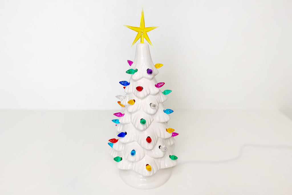 White Lighted Vintage Christmas Tree