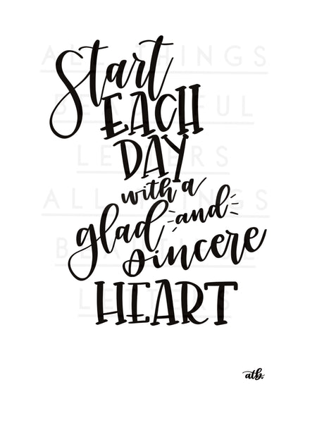 Start Each Day with a Grateful Heart Silk Screen