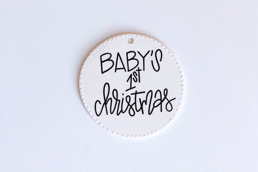Baby's First Christmas Ornament - Classic Black with White Dots