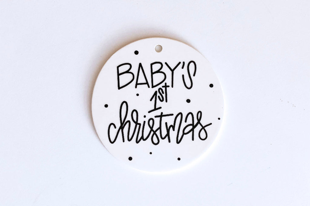 Baby's First Christmas Ornament - Classic Black and White