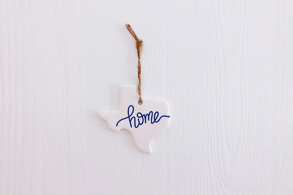 Texas Home Christmas Ornament - Blue Script