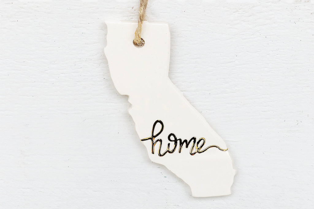 "California ""Home"" Christmas Ornament in Gold"