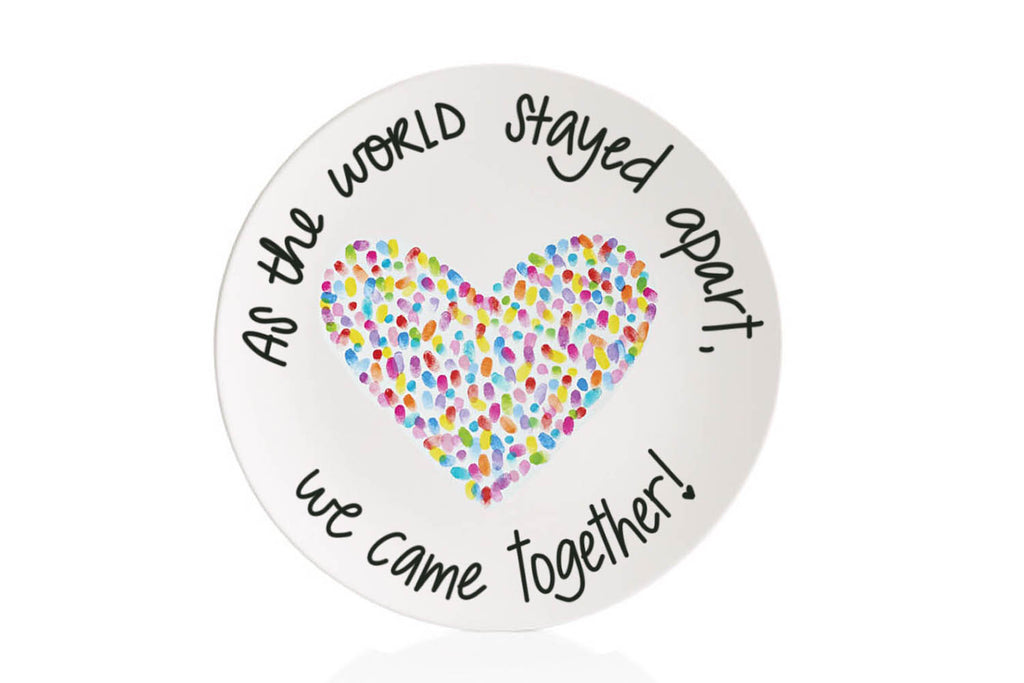 "Family Heart Thumbprint Commemorative ""Quarantine"" Plate"