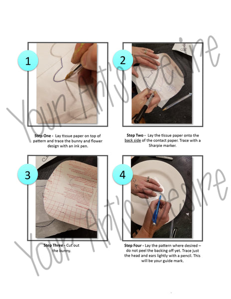 Easter Bunny Plate - Step by Step Instruction Worksheet