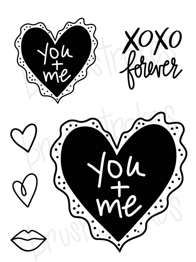 Fancy Valentine Heart - You + Me  Silk Screen