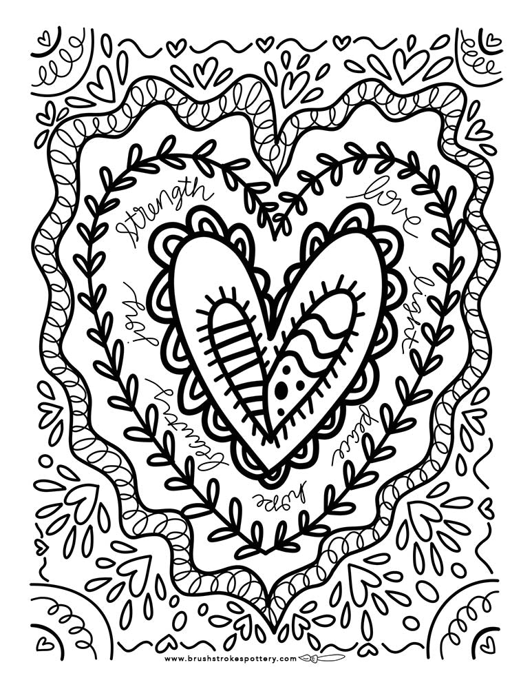 Heart Centered Coloring Page