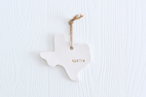 Austin Texas Christmas Ornament with Gold
