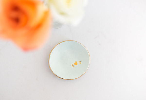 Custom Initial Ring Dish in Gold luster