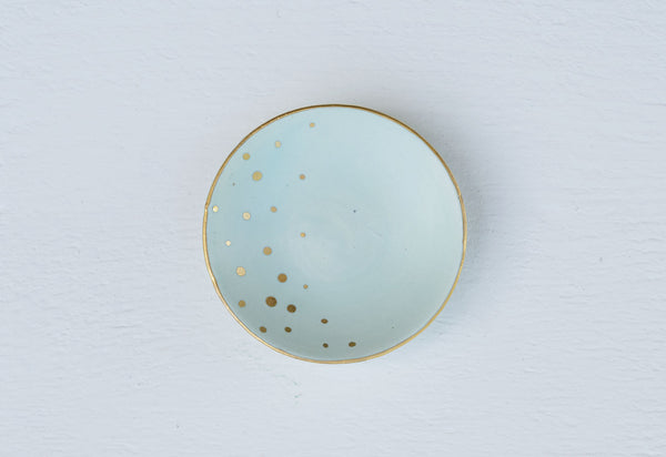 Teal Matte and Gold Ring Jewelry Dish