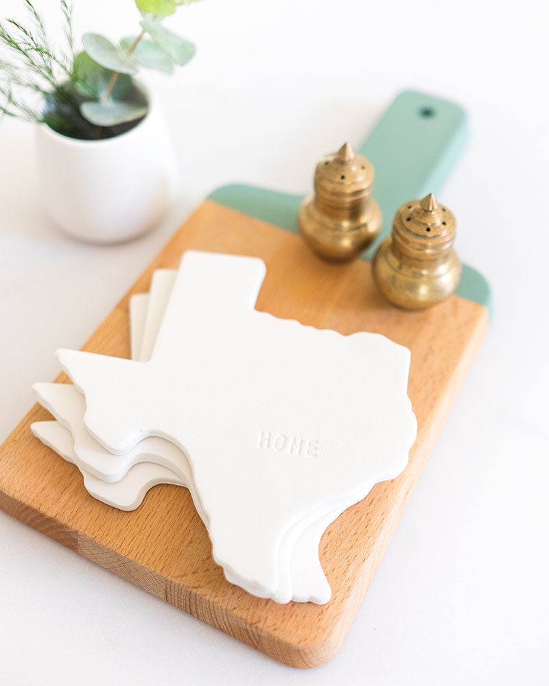 Texas Ceramic Coaster styled with salt and pepper shakers