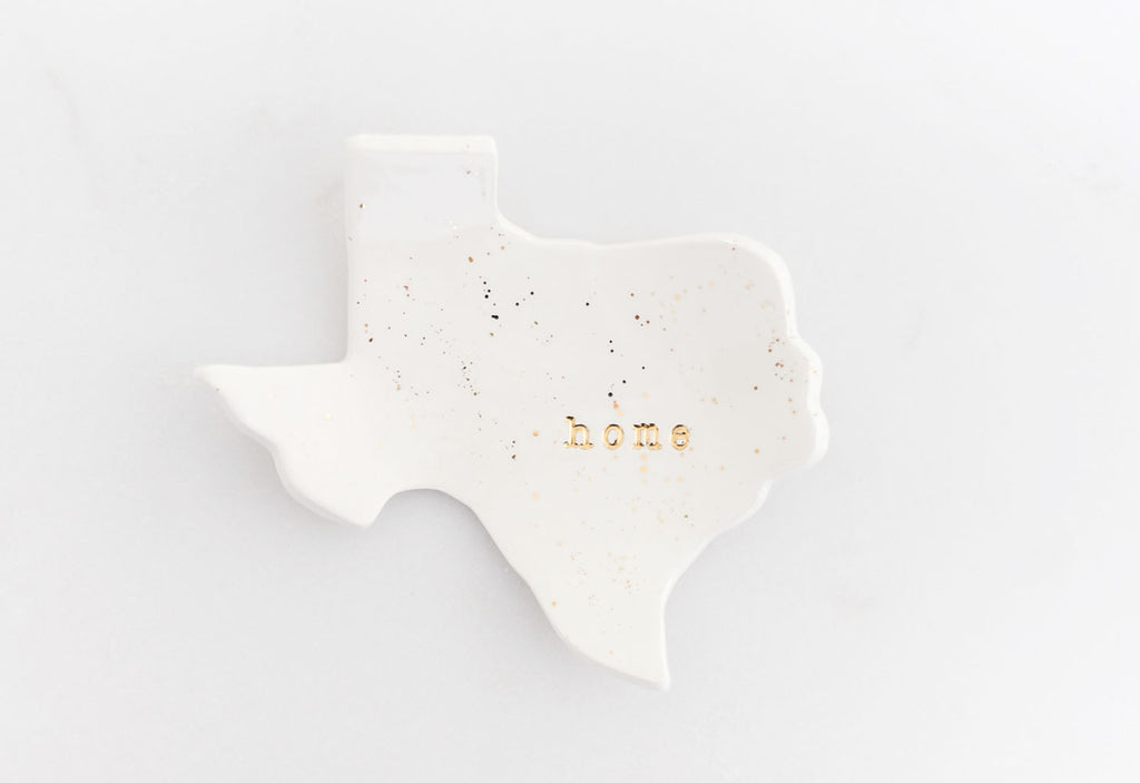 Texas Home Ring Dish with Gold Splatter