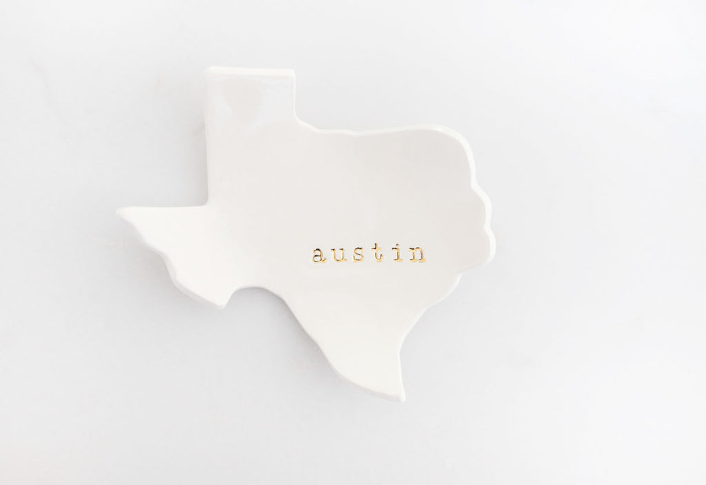 Austin Texas Ceramic Ring Dish rocks