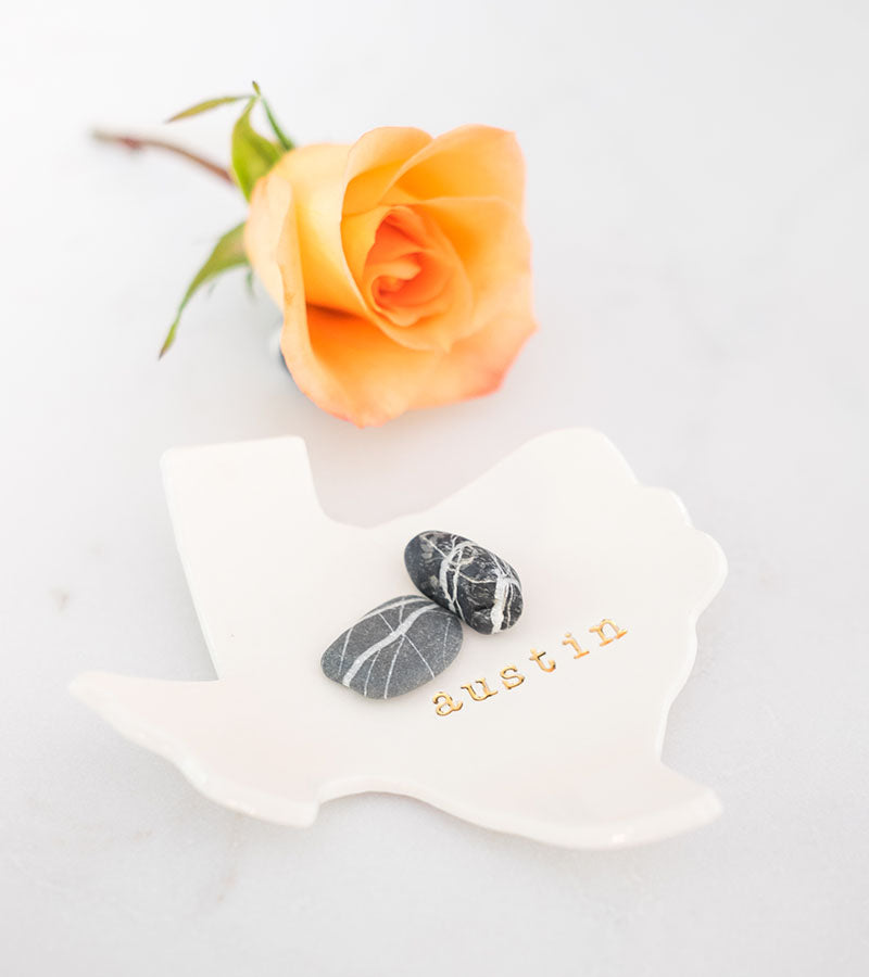 Austin Texas Ceramic Ring Dish with Yellow Rose