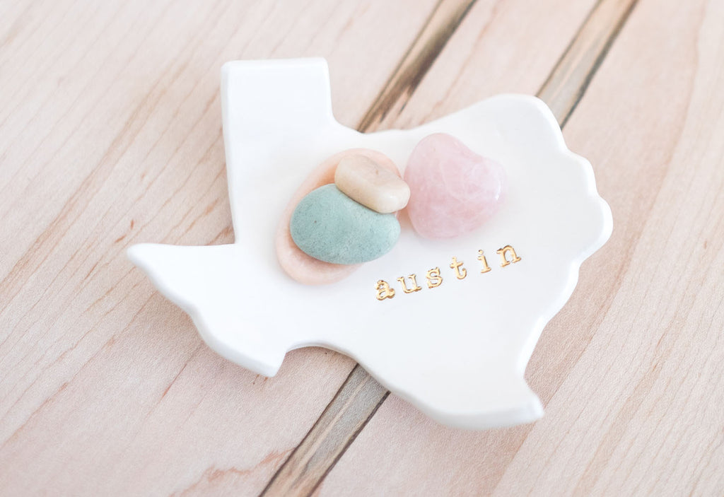 Austin Texas Ceramic Ring Dish decorated with rocks