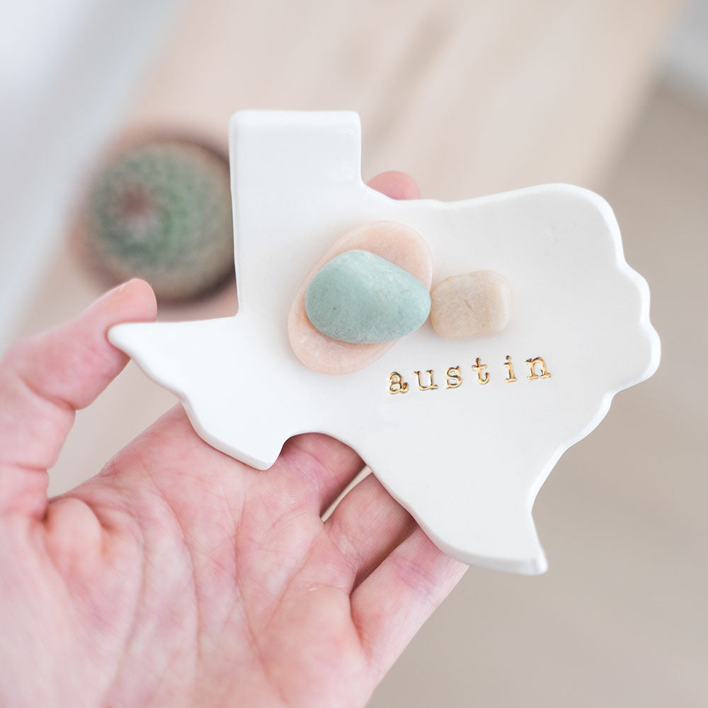 Austin Texas Ceramic Ring Dish with Rocks