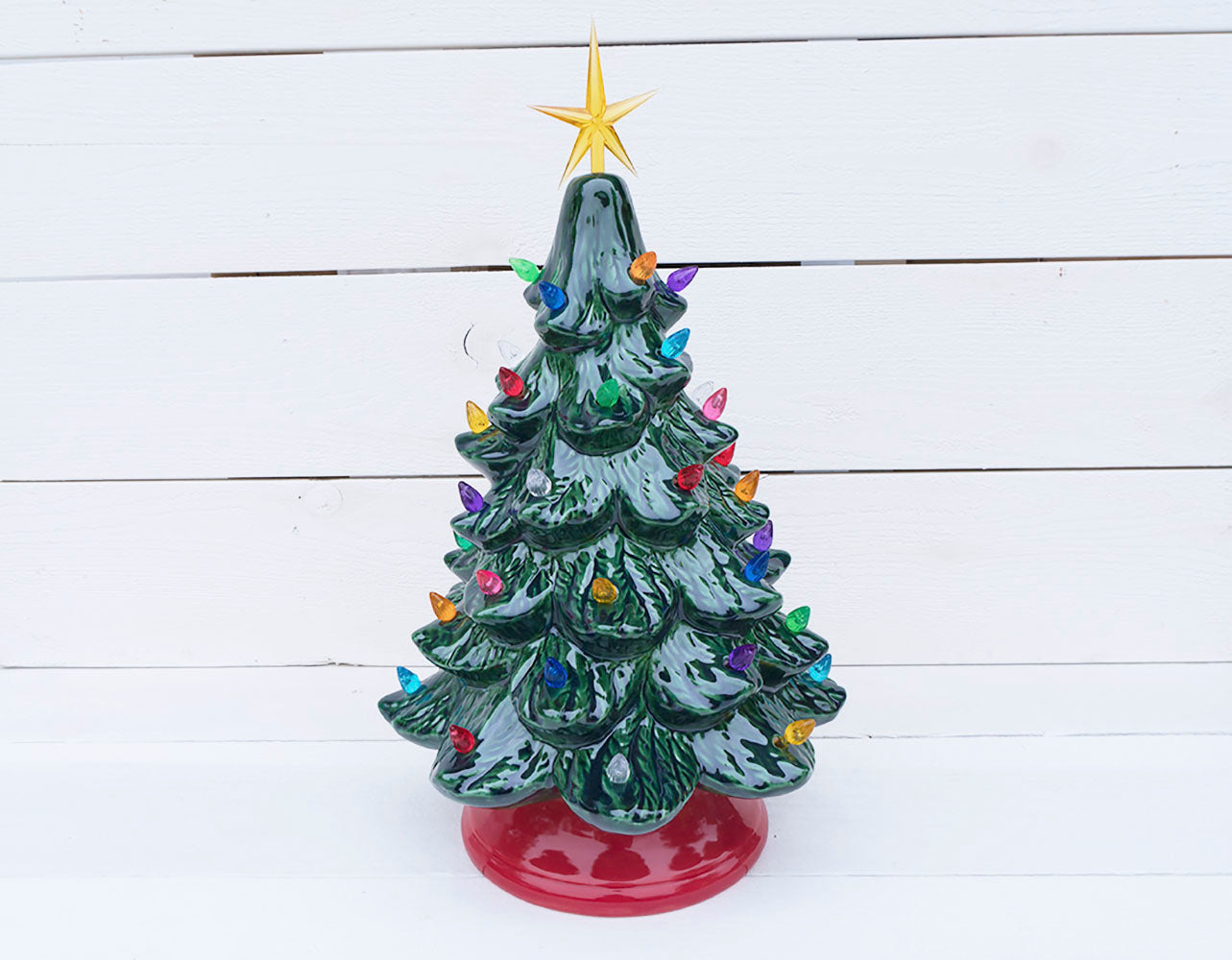 Vintage Christmas Tree Forest Green