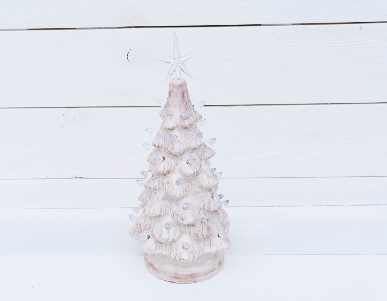 Ceramic Christmas Tree With Lights.Vintage Christmas Tree Rustic White