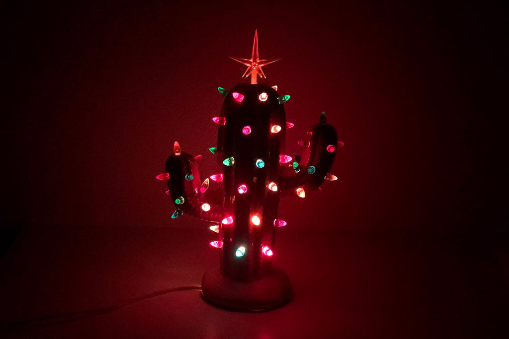 White Lighted Ceramic Cactus Tree