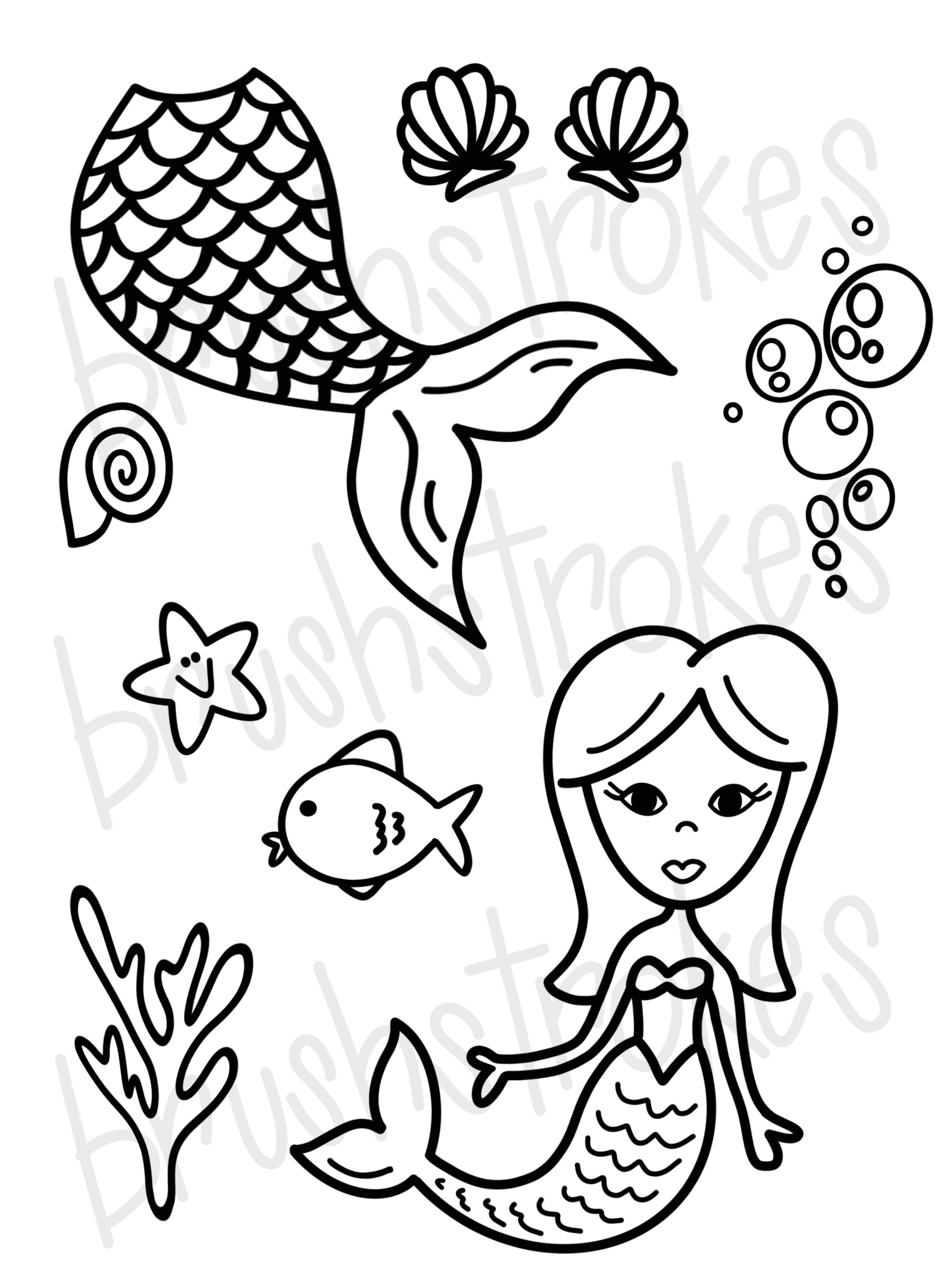 Mermaid Under The Sea Coloring Book Silk Screen