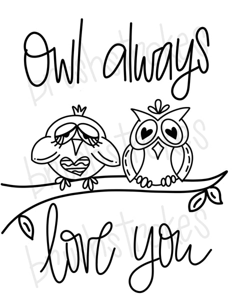Owl Always Love You (Large) Coloring Book Silk Screen